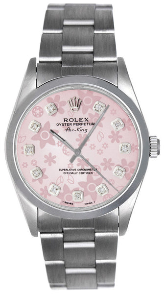 Rolex Airking Pink Flower Diamond Face / Smooth Bezel