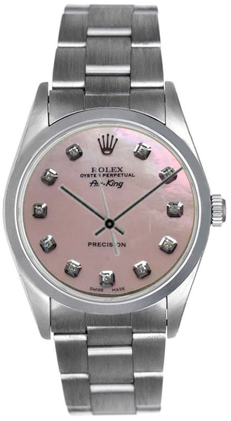 Rolex Airking Pink MOP Diamond Face / Smooth Bezel