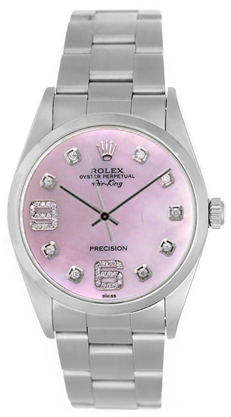 Rolex Airking Pink MOP Diamonds 6' & 9' Face / Smooth Bezel