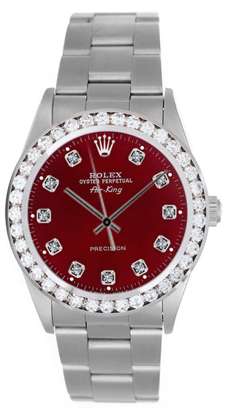 Rolex Airking Red Diamond Face / 2.00ct Diamond Bezel