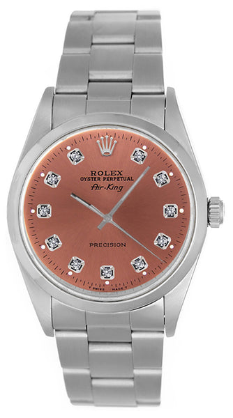 Rolex Airking Salmon Diamond Face / Smooth Bezel