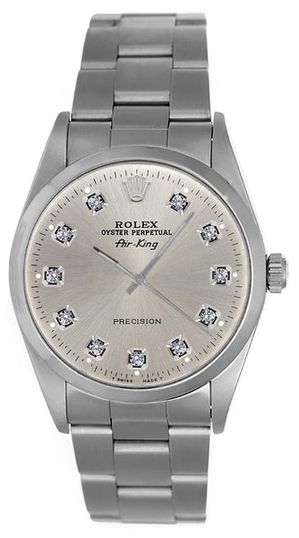 Rolex Airking Silver Diamond Face / Smooth Bezel