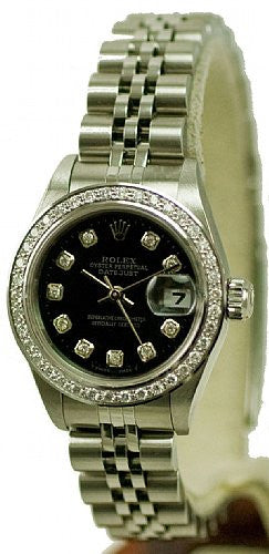 Rolex Ladies Datejust Steel Black Diamond Dial & Pave Diamond Bezel