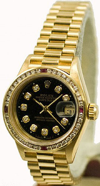 Rolex Ladies President Yellow Gold Black Diamond Dial & Rubies Bezel