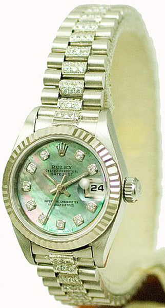 Rolex Ladies Datejust Steel Black MOP Diamond Dial & Diamond Bracelet