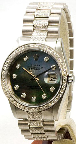 Rolex Datejust Black MOP Diamond Dial Bezel and Dial