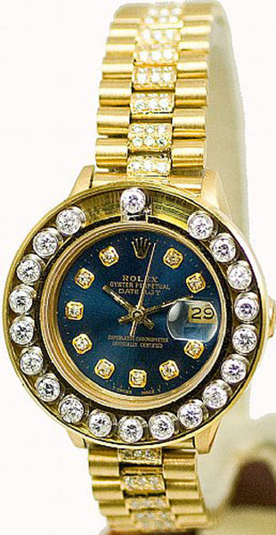 Rolex Ladies President Yellow Gold Blue Diamond Dial/Happy Set Bezel/Band