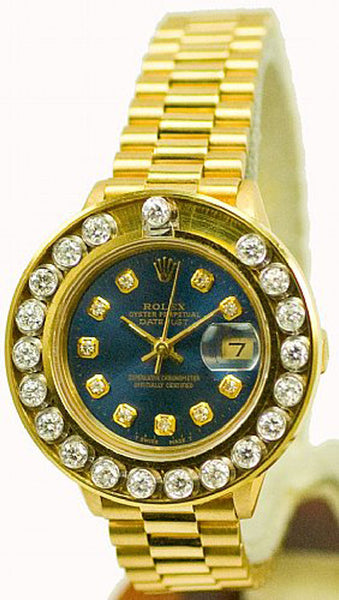 Rolex Ladies President Yellow Gold Blue Diamond Dial & Happy Set Bezel