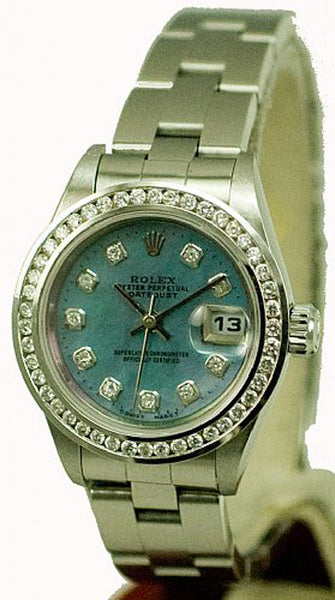 Rolex Ladies Datejust Steel Blue MOP Diamond Dial & Bezel / Oyster Band