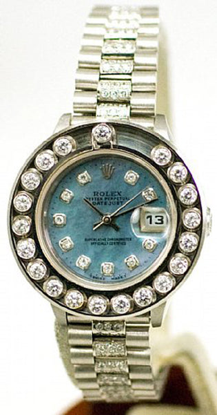 Rolex Ladies Datejust Steel Blue MOP Diamond Dial/Bezel/Band