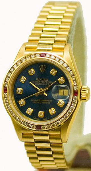 Rolex Ladies President Yellow Gold Navy Blue Diamond Dial & Rubies Bezel
