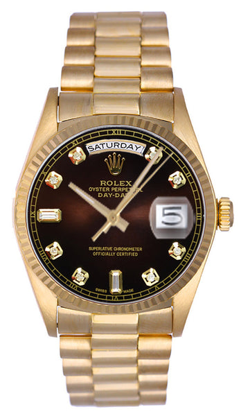 Rolex President 18kt Yellow Gold Brown Diamond Dial / Fluted Bezel