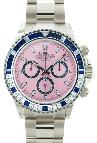 Rolex Daytona Steel Custom Pink Face / Blue Quartz and Baguettes Bezel