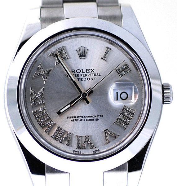 Rolex Datejust II Silver Roman Diamond Dial & Smooth Bezel