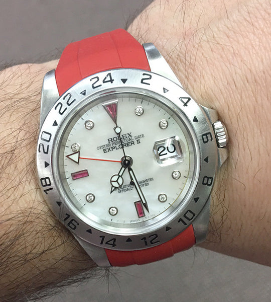 Rolex Explorer II Steel White MOP Diamonds & Rubies Dial Red Rubber