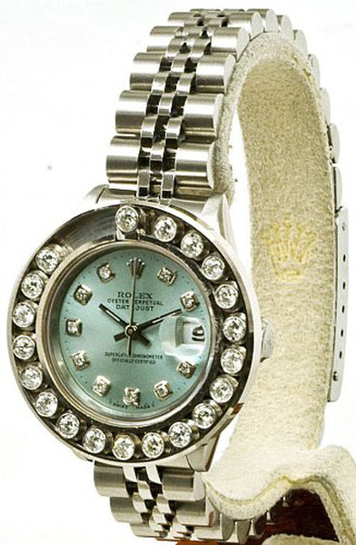 Rolex Ladies Datejust Steel Ice Blue Diamond Dial & Happy Diamond Bezel