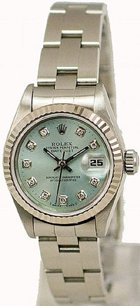 Rolex Ladies Datejust Steel Ice Blue Diamond Dial & Oyster Band