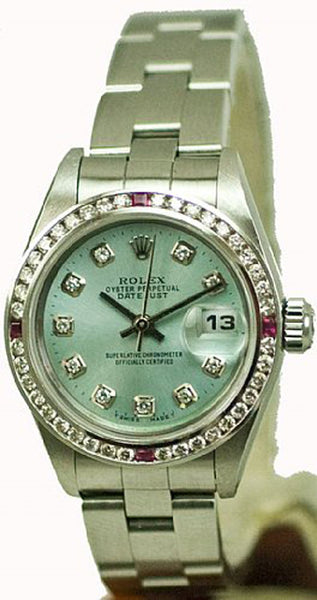 Rolex Ladies Datejust Steel Ice Blue Diamond Dial & Rubies Bezel