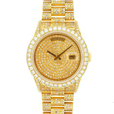 Rolex Mens President Yellow Gold Pave Diamond Face / Bezel / Band