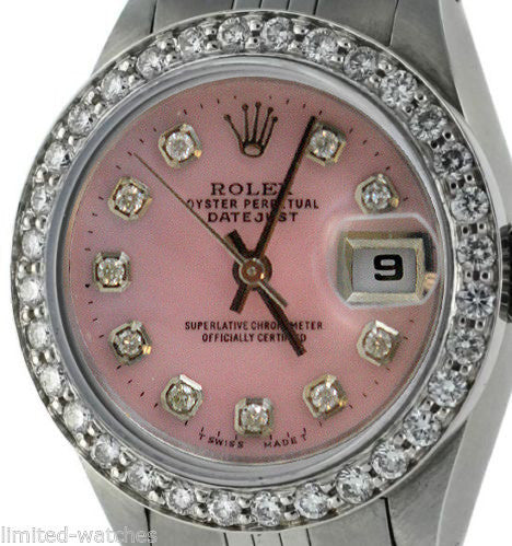 Rolex Ladies Datejust Steel Pink MOP Diamond Dial / Bezel
