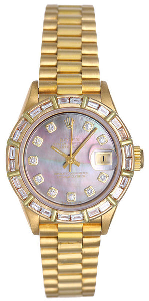 Rolex Ladies President Yellow Gold  Baguette Diamond Bezel & Black MOP Dial