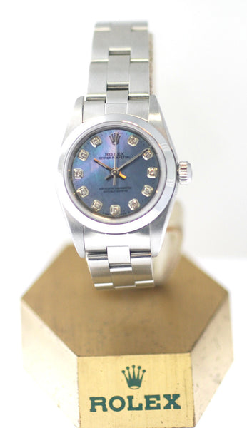 Rolex Non-Date Ladies White Mother Of Pearl Roman Face / Smooth Bezel