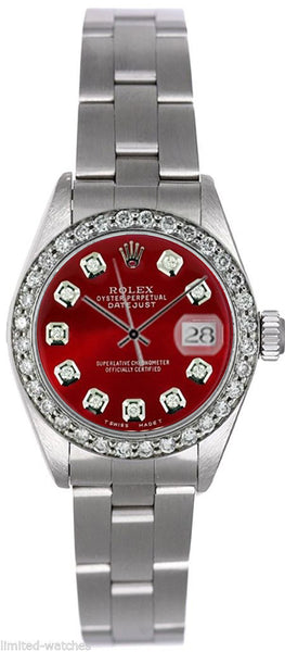 Rolex Datejust Ladies Red Diamond Dial & Bezel / Oyster Band