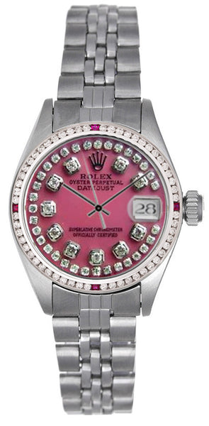 Rolex Datejust Ladies Pink MOP String Diamond Dial & Rubies Bezel / Jubilee Band