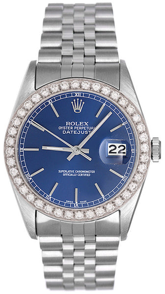 Rolex Datejust Mens Blue Face / Diamond Bezel