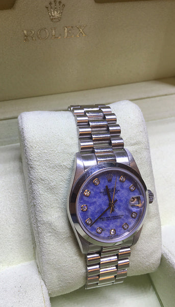 Rolex Midsize Platinum Wristwatch Model Sodalite Diamond Dial