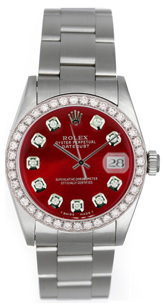 Rolex Midsize Datejust Red Diamond Face / 1.00ct Pave Diamond Bezel