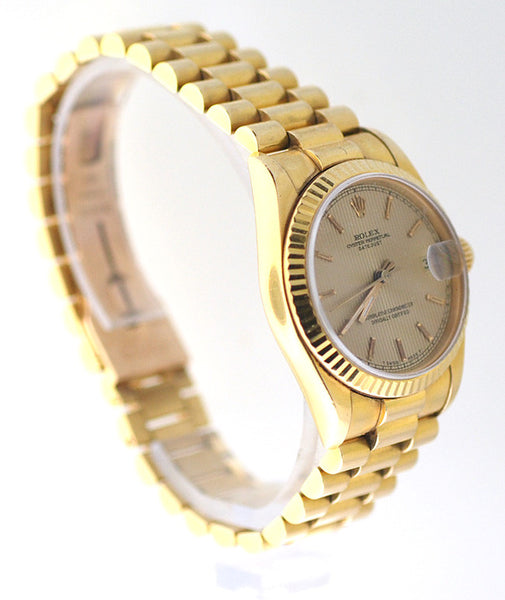 Rolex Datejust Midsize Yellow Gold Tapestry Dial / Box & Booklets !