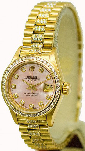 Rolex Ladies President Yellow Gold Pink MOP Diamond Dial/Bezel/Band