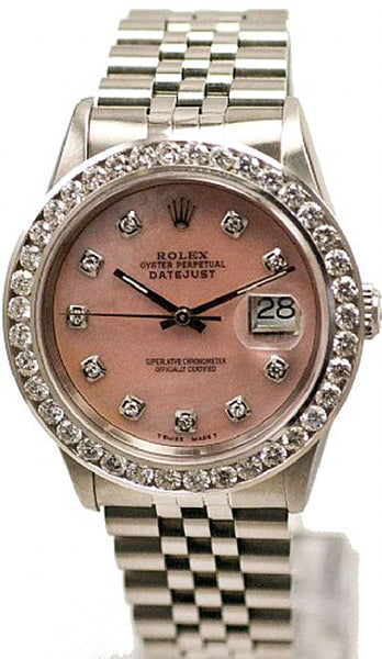 Rolex Mens Datejust Steel Pink MOP Diamond Dial & 3.00ct Bezel