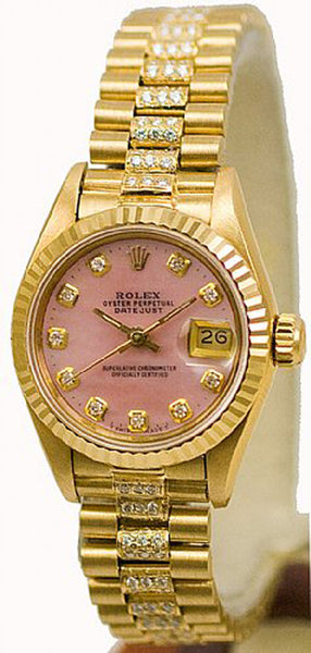 Rolex Ladies President Yellow Gold Pink MOP Diamond Dial & Diamond Bracelet