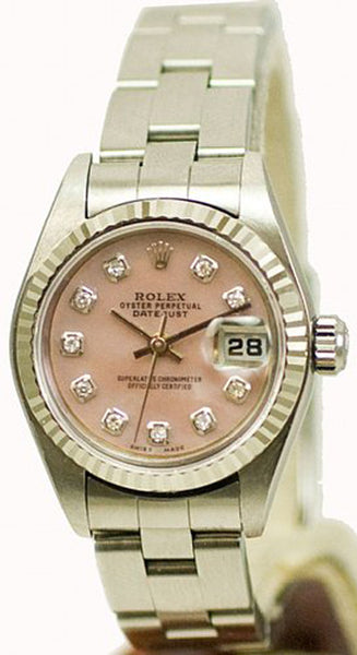 Rolex Ladies Datejust Steel Pink MOP Diamond Dial / Oyster Band