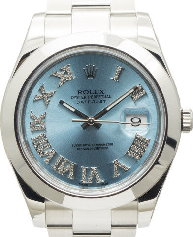 Rolex Datejust II Ice Blue Roman Diamond Dial & Smooth Bezel