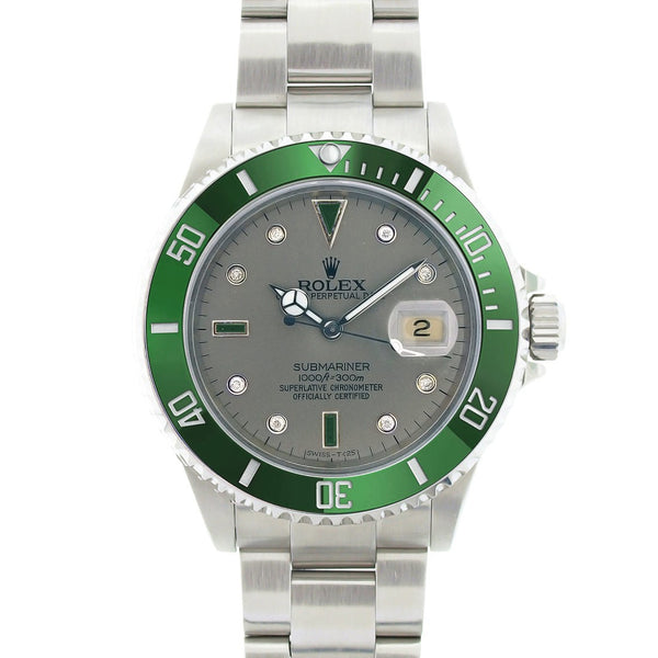 Rolex Submariner Steel Silver Diamond & Emeralds Dial / Green Insert