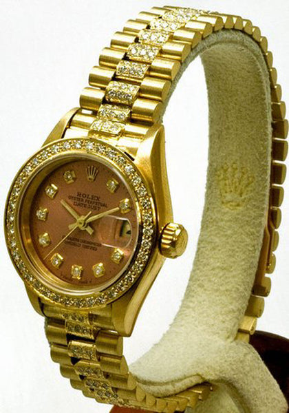 Rolex Ladies President Yellow Gold Salmon Diamond Dial/Bezel/Band