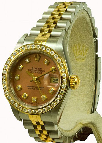 Rolex Ladies Datejust Two Tone Salmon Color Diamond Dial & Bezel