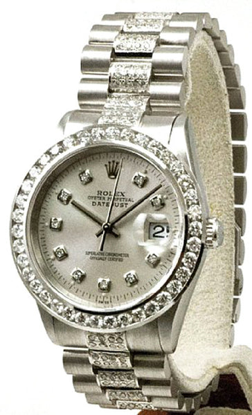 Rolex Mens Datejust Steel Silver Diamond Dial/3.00ct Bezel/Diamond Band