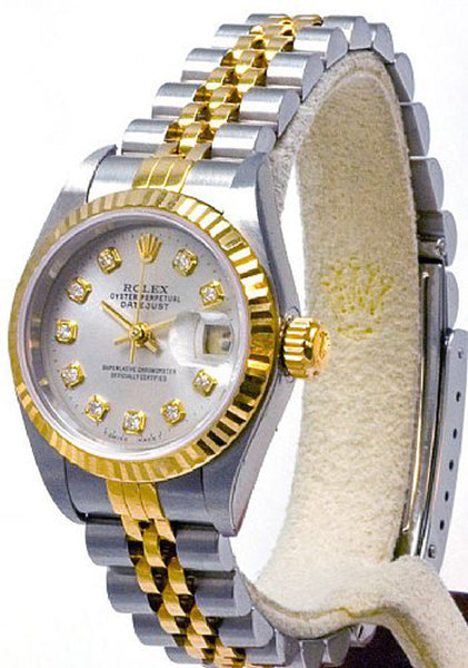 Rolex Ladies Datejust Two Tone Silver Diamond Dial