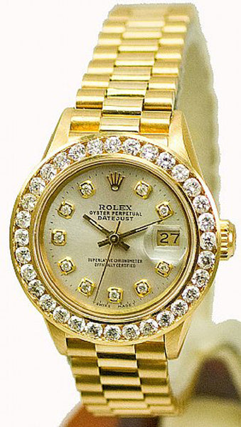 Rolex Ladies President Yellow Gold Silver Diamond Dial & Big Diamond Bezel