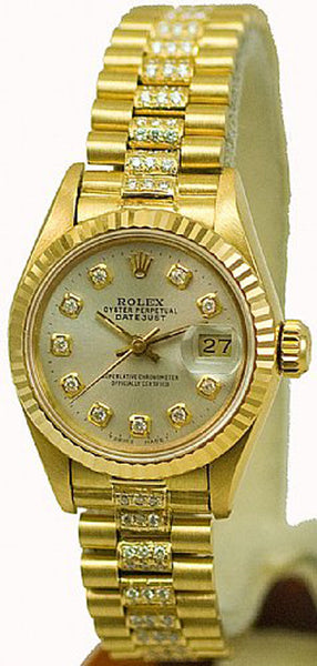 Rolex Ladies President Yellow Gold Silver Diamond Dial & Diamond Bracelet
