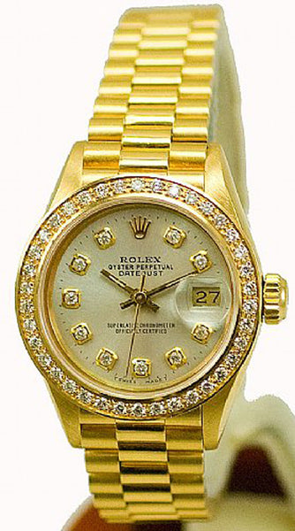 Rolex Ladies President Yellow Gold Silver Diamond Dial & Bezel