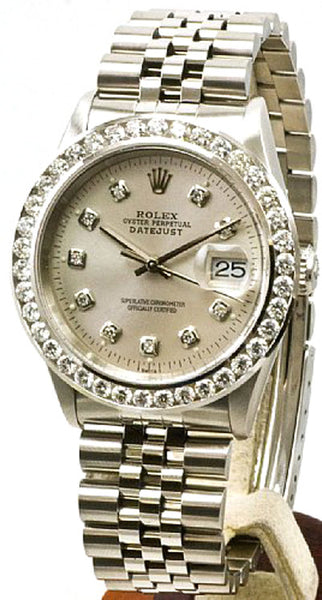 Rolex Mens Datejust Steel Silver Diamond Dial & 3.00ct Diamond Bezel