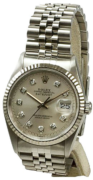 Rolex Mens Datejust Steel Silver Diamond Dial & Jubilee Band