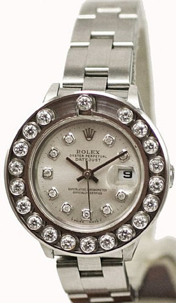 Rolex Ladies Datejust Steel Silver Diamond Dial & Happy Set Bezel