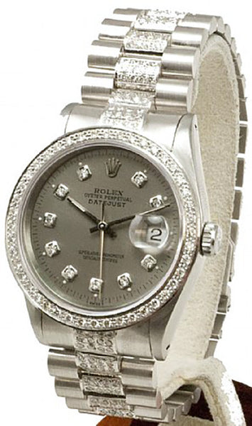 Rolex Mens Datejust Steel Slate Diamond Dial/Bezel/Dial