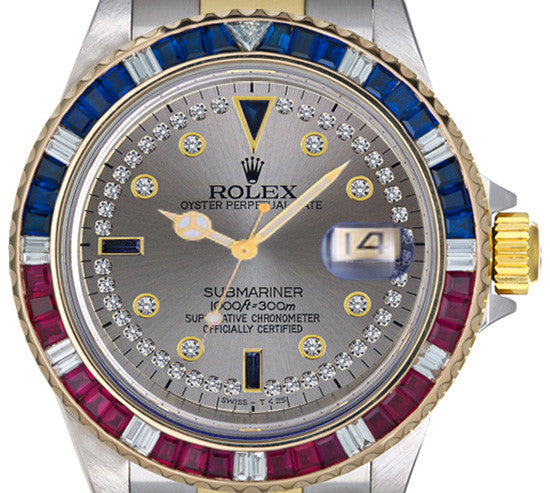 Rolex Submariner Two Tone Slate String Dial / Red & Blue Bezel